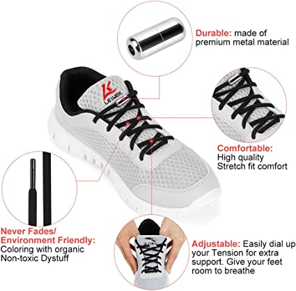 L LEIWEK Elastic Shoe Laces for Kids and Adults Adjustable Tieless Shoe Laces for Sneakers Boots Board and Casual Shoes 3 Pairs No Tie Shoelaces with Metal Buckle