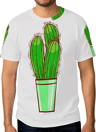 FAJRO Emerald Cactus - Camiseta de Manga Corta para Hombre: Amazon.es: Ropa y accesorios