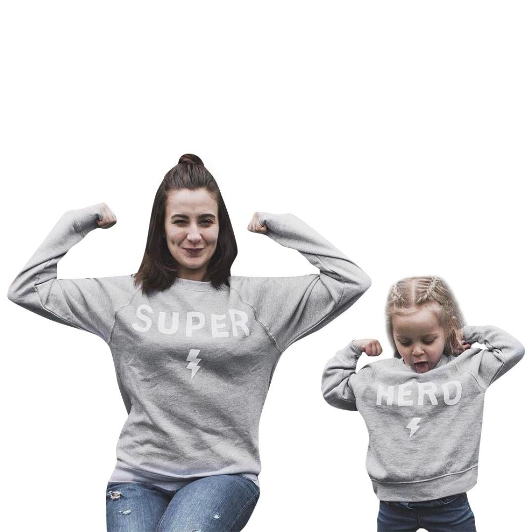 Yoyorule Family Outfits Mommy Me Fashion Long Sleeve Pullover T-Shirt Popular Letters Printing