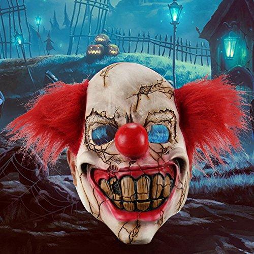 (yanQxIzbiu Full Face Latex Mask Scary Clown Halloween Costume Evil Creepy Party Horror)