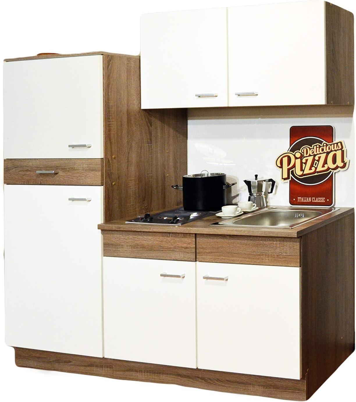 Trend – Muebles de cocina de un bloque, con cocina, nevera, fregadero y quemadores, 1,60 m, color beige