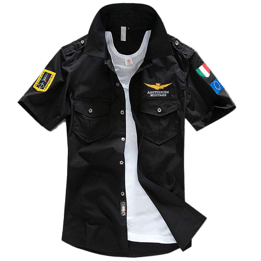 Xmiral Chemise Homme Broderies Militaires Manches Courtes Pure Poche t Shirt