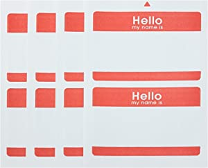AmazonBasics Print or Write Name Badge Labels with Red Border, 100-Pack