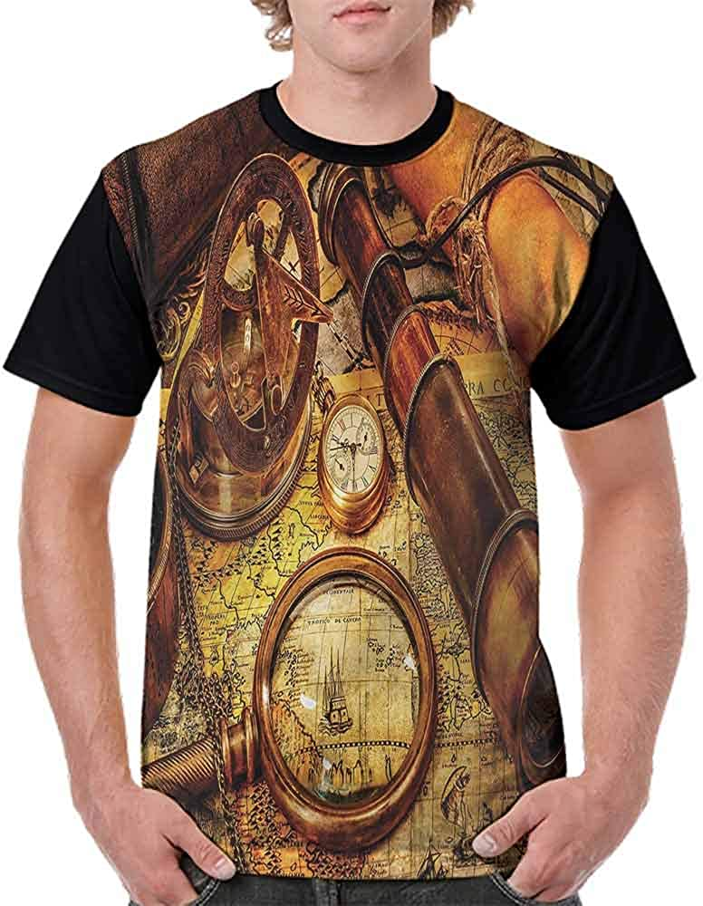 Casual Short Sleeve Graphic Tee Shirts,Watch on Old Map Nautical Fashion Personality Customization