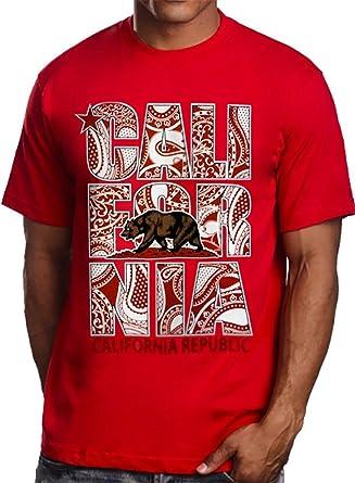 a76f4540 Men's Red T shirt Red Bandana California Republic Stacked Logo (L - Large)