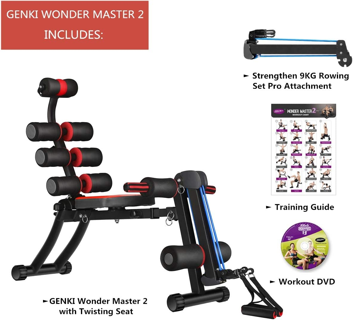 Unisex Wonder Master Abs Exercise Machine with built in Twisting Seat and Rower for women man sports uk office indoor GENKI pro smart core Abs Rocket Chair 22 in 1 trainer