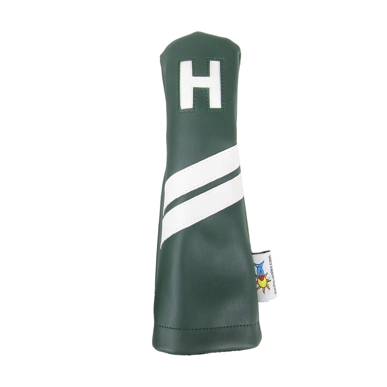 Sunfish レザー ハイブリッド H ゴルフ ヘッドカバー グリーン ホワイトストライプ   B07G8KZXMG