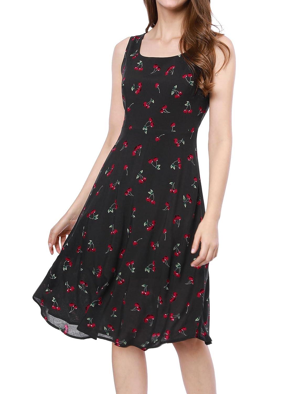 Allegra K Women's 1950s Sleeveless Cherry Print Midi Flare Vintage Dress