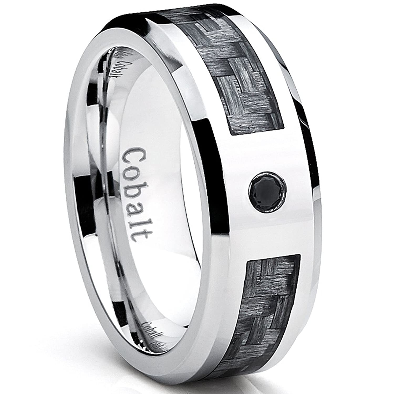 steel lyst men product fiber wedding mens iconic jewelry ring s emporio normal gallery stainless rings and carbon armani black