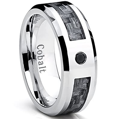 Cobalt Mens Wedding Band Ring with Gray Carbon Fiber Inlay and 004