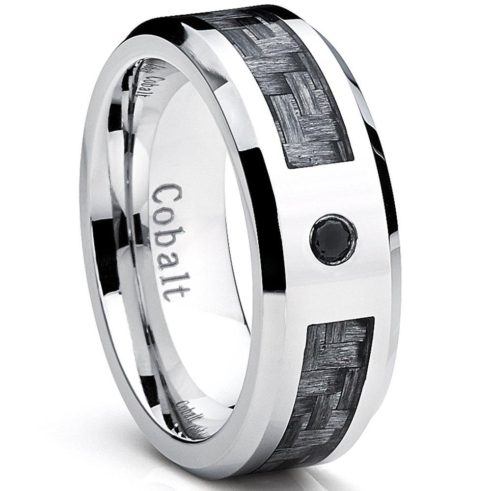 Men/'s Wedding Ring 6mm Cobalt Chrome Band with Black Carbon Fiber Inlay