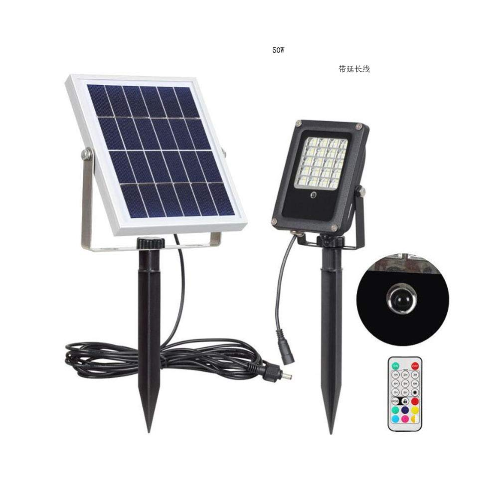 Suguoguo Solar-Wandleuchte, Fernsteuerungsgarten-Flutlichter, Spitzenlicht, Rasenlicht 50W im Freien Wasserdichte dekorative