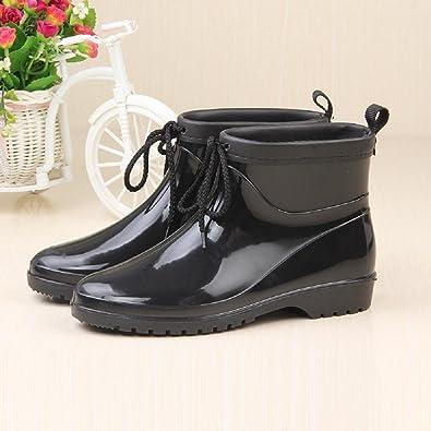 JIU Regen Stiefel Wasserdicht Lady Mode Gummischuhe Regen Schuhe, Black, 25cm