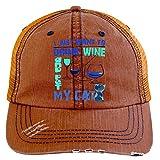 I Want To Drink Wine Hat, I Want To Pet My Cat Trucker Cap (Trucker Cap - Orange)