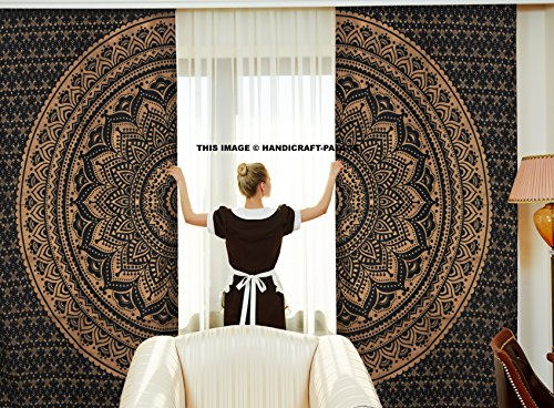 Curtains Ethnic Black Gold Ombre Mandala Decor by Handicraftspalace, Mandala Tapestry Meditation Design Psychedelic Round, Window Treatments, Living Kids Girls Room 2 Panels Set, 82 X 82 Inch