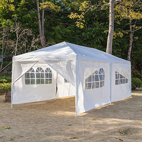 Festnight 10' x 20' Garden Outdoor Gazebo Canopy with 6 Sides Removable Walls and 2 Doors Heavy Duty Waterproof Patio Party Wedding Tent BBQ Shelter Pavilion Cater Events (White)