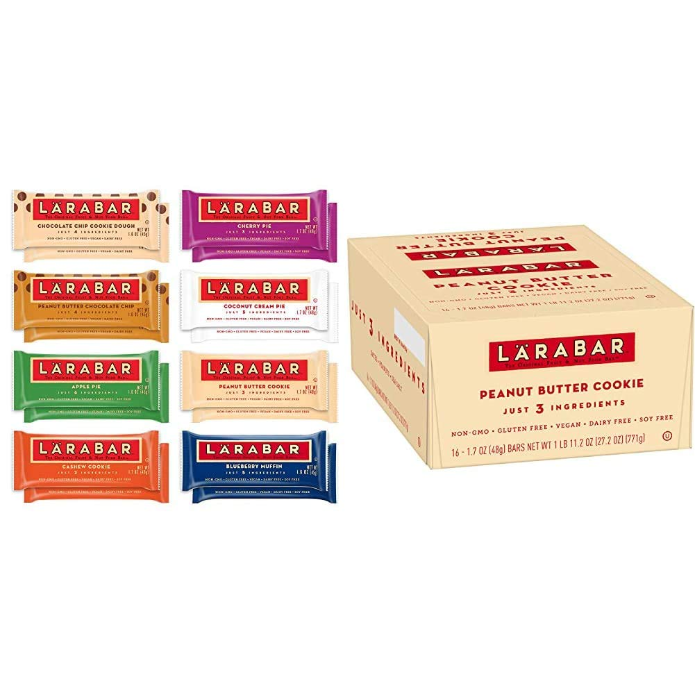 Larabar Gluten Free Snack Bars Variety Box, Vegan, 8 Flavors, 1.7oz, 16ct & Gluten Free Bar, Peanut Butter Cookie, 1.7 oz Bars (16 Count), Whole Food, Dairy Free Snacks