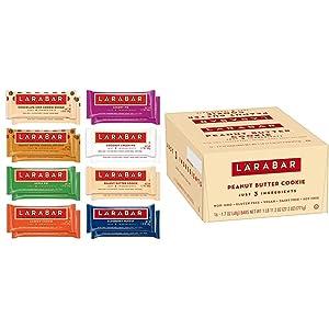Larabar Gluten Free Snack Bars Variety Box, Vegan, 8 Flavors, 1.7oz, 16ct & Gluten Free Bar, Peanut Butter Cookie, 1.7 oz Bars (16 Count), Whole Food, Dairy Free Snacks