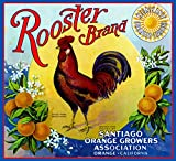 A SLICE IN TIME Orange County California Rooster Brand Orange Citrus Fruit Crate Box Label Art Print Travel Advertisement Poster. 10 x 11 inches