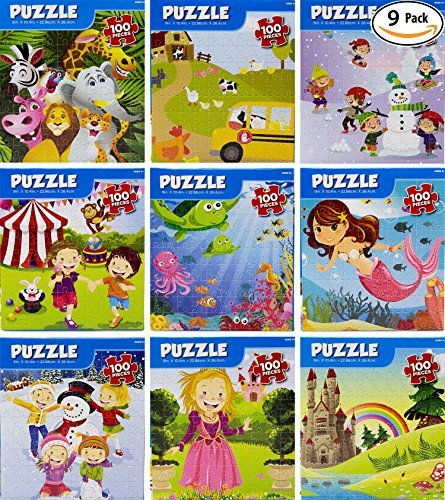 Puzzle Kings 100-Piece Jigsaw Bulk Kid Puzzles, 9-Pack