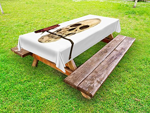 (Lunarable Gothic Outdoor Tablecloth, Skull with Dry Red Rose in Teeth Anatomy Death Eye Socket Jawbone Halloween Art, Decorative Washable Picnic Table Cloth, 58 X 84 inches, Beige)