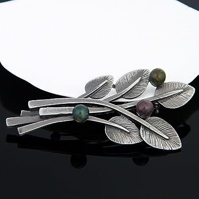 51069938c1c8 TOOGOO Accesorios de moda estilo vintage con broche de hoja de planta  vuentas negras para mujer  Amazon.es  Joyería