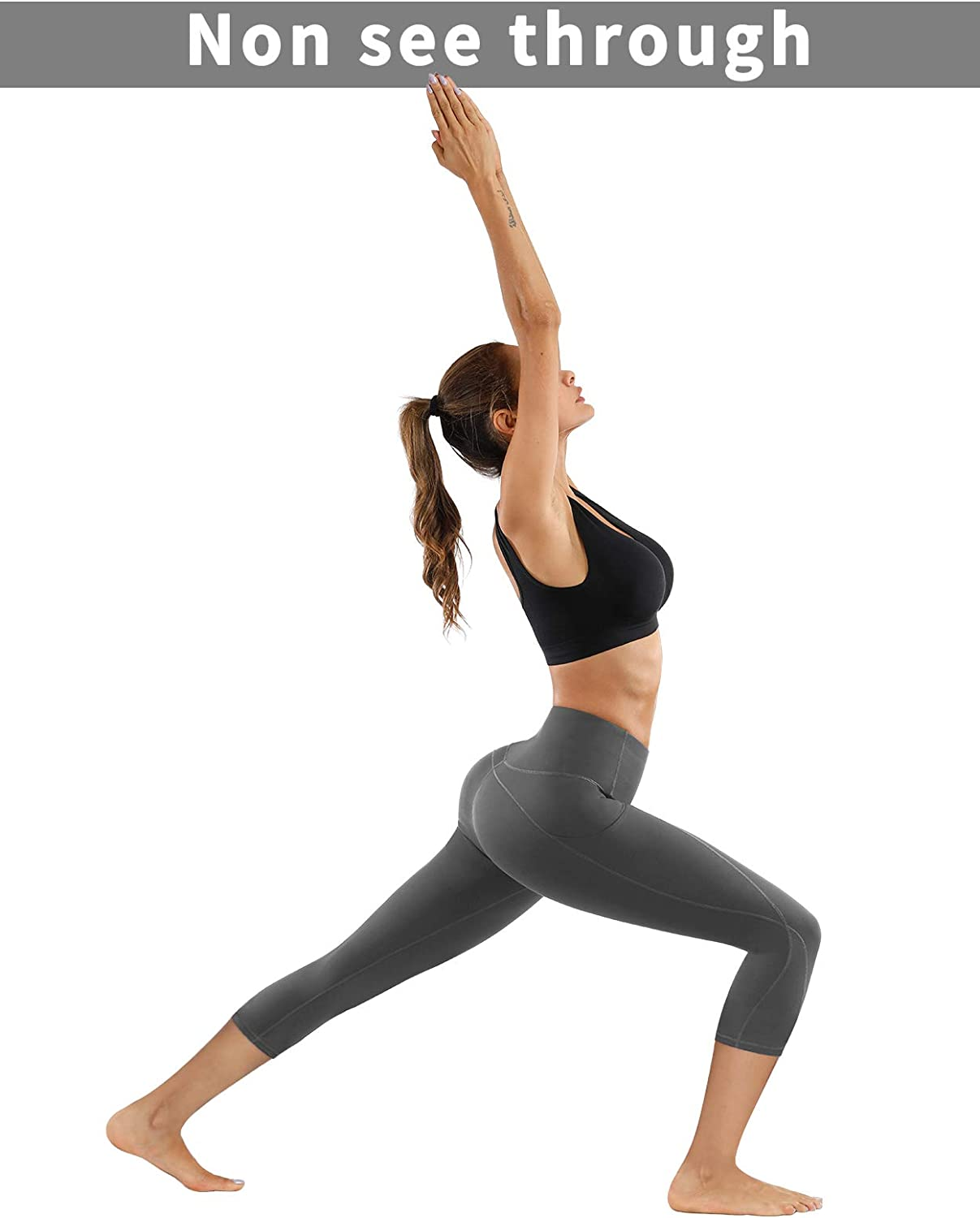 Workout 4 Way Stretch Yoga Leggings PHISOCKAT 2 Pack High Waist Yoga Pants with Pockets Tummy Control Capris Leggings