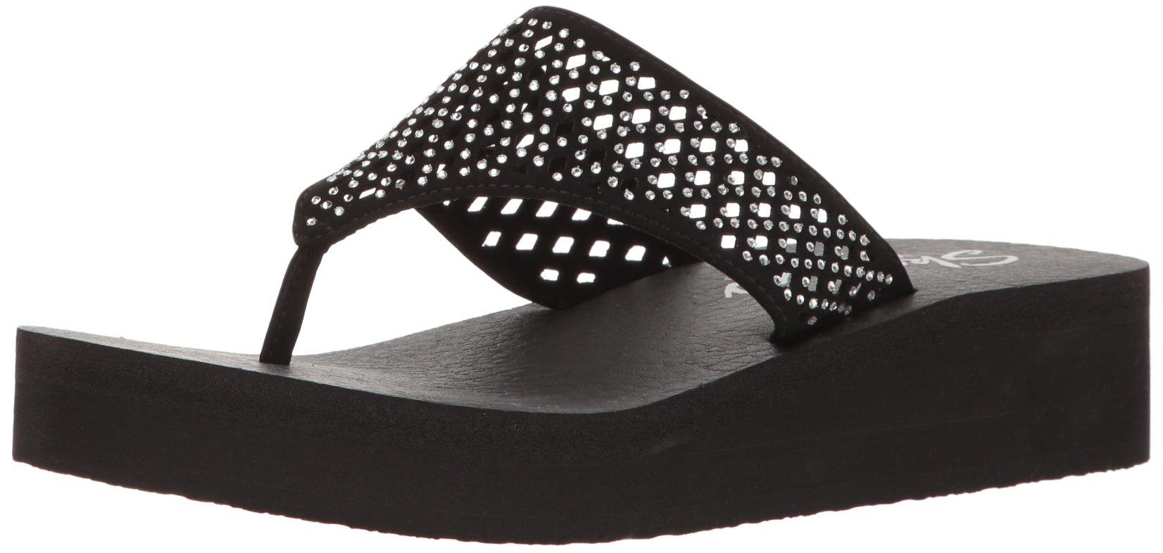 Skechers Cali Women's Vinyasa Flow Wedge Sandal, Black Cutout, 6 B(M) US by Skechers (Image #1)