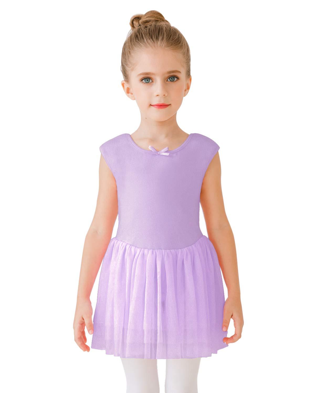 Stelle Toddlergirls Tank Tutu Dress Leotard For Dance Gymnastics And Balletpurple 130cm8 10y