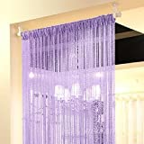 Topixdeals 37 X 76 Inch Rare Flat Silver Ribbon Door String Curtain Thread Fringe Window Panel Room Divider Cute Strip Tassel Party Events (Purple)