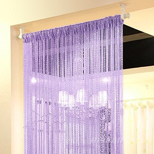 Topixdeals 37 X 76 Inch Rare Flat Silver Ribbon Door String Curtain Thread Fringe Window Panel Room Divider Cute Strip Tassel Party Events (String Curtain Panel)