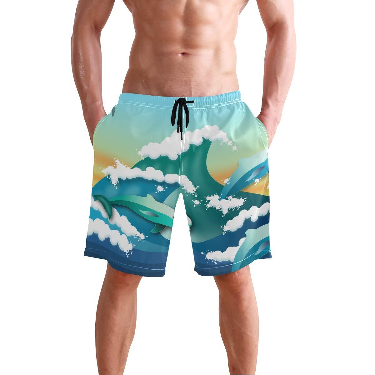 Mens Swim Trunks Seagull Dolphins Ocean Wave Spindrift Beach Board Shorts