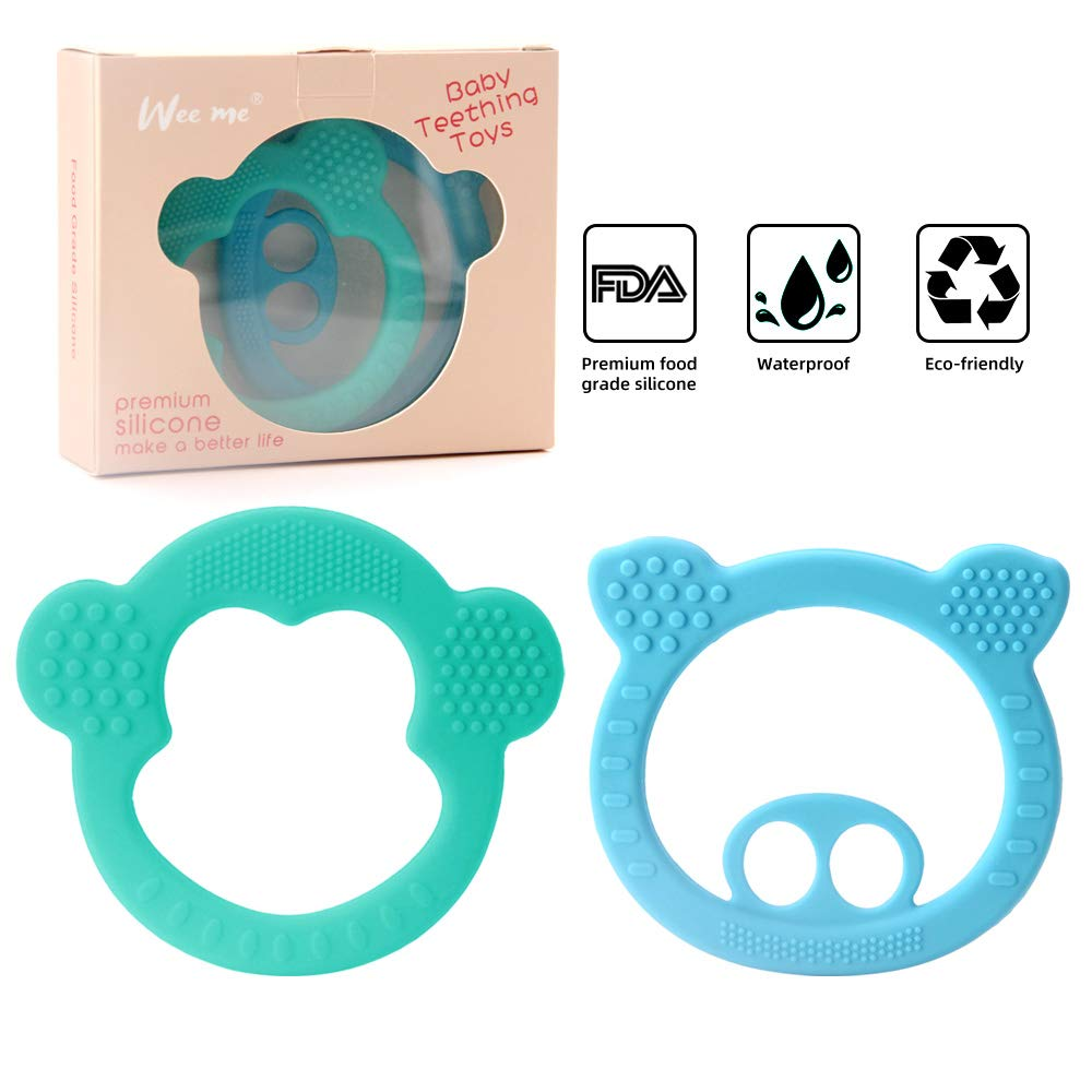 3 Pack Soft Silicone Baby Teething Toys Easy to Hold,Pain Relief Teether Toys Best Baby Shower Gift BPA Free Silicone Teether