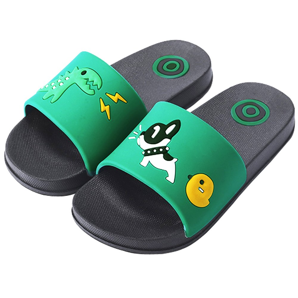 Anddyam Kids Family Household Anti-Slip Indoor Outdoor Home Slippers for Girls and Boys (US Little Kid (3-4 Years), Green)