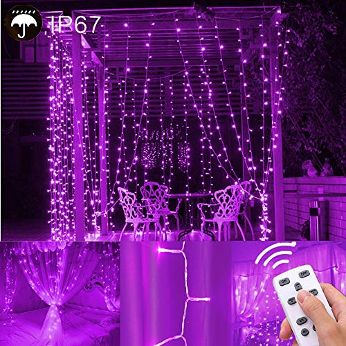 LIGHTESS Curtain Lights 300 LED Purple Icicle Light LED Fairy String Light for Indoor Outdoor Christmas Xmas Decor, SY-C1 (Orange Purple Curtains And)