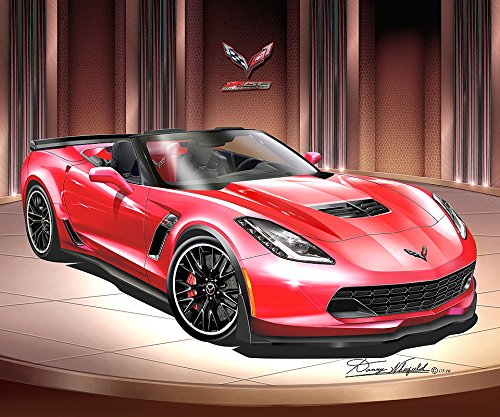 2014 - 2015 CORVETTE Z06 CONVERTIBLE - TORCH RED- ART PRINT POSTER BY ARTIST DANNY WHITFIELD - SIZE 24 X 36