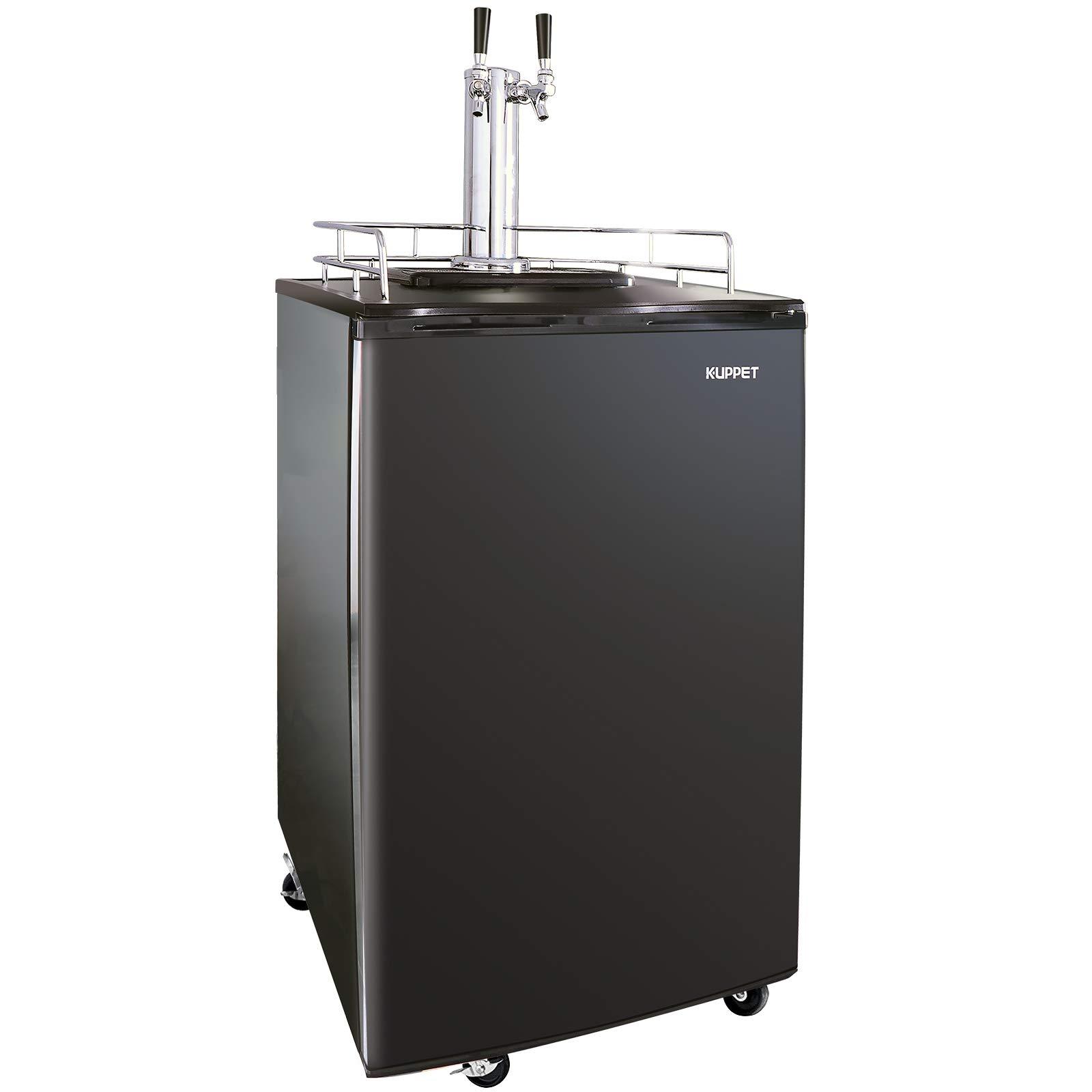 KUPPET Full Size Kegerator& Draft Beer Dispenser, Beer Kegerator, Keg Beer Cooler for Party, Compressor Cooling CO2 Regulator Casters, Dual Tap, Black, 6.0 Cu.ft.