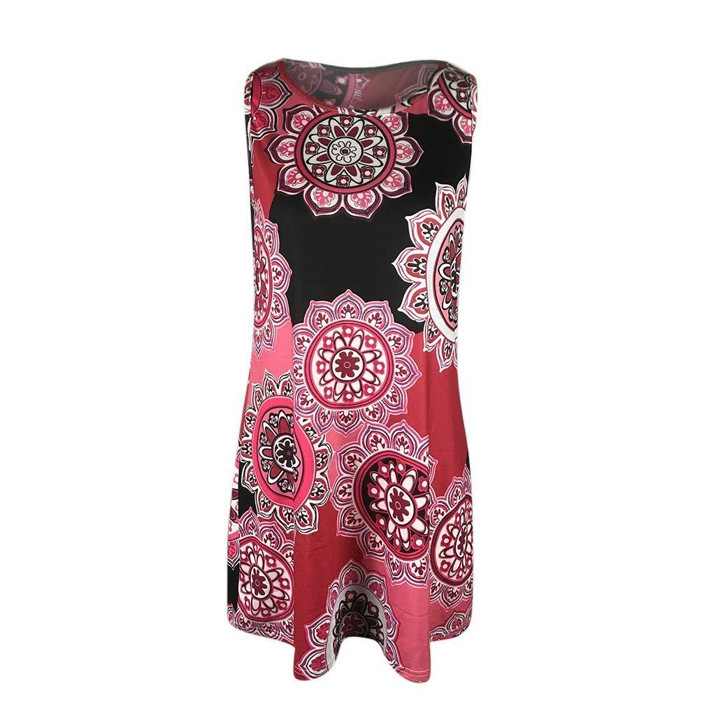 Bohemian Bobo Damen Frauen Kleider Yanhoo Sommer Vintage Boho Maxi Abend Party Beach Floral Kleid 3D Digitaldruck BöHmischen Rundhals äRmelloses Sommerkleider
