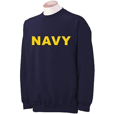 Navy NAVY Crewneck Sweatshirt with Gold print at Amazon Men's ...