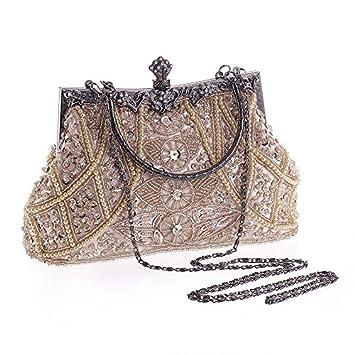 AUMING Cartera de Mano Elegante para Mujer Bolsos de Noche de Lentejuelas con Cuentas Vintage Elegantes de Mujer (Color : Champagne): Amazon.es: Hogar