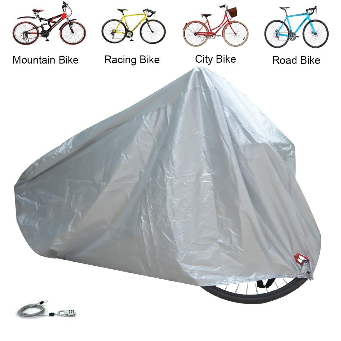 Housse pour V/élo Couverture de Protection Bicyclette Ext/érieur /Étanche anti-UV Anti-vent Anti-poussi/ère pour VTT Route Course Ville Bicyclette avec Lork ELR Argent