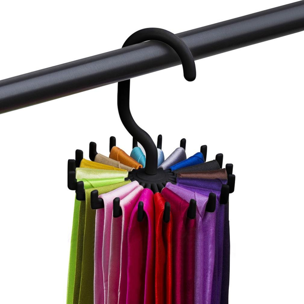 Neck Ties Holder Hanger Rotating Tie Rack Adjustable Tie Hanger Holds 20 Neck Ties Tie Organizer GOTD (Black)