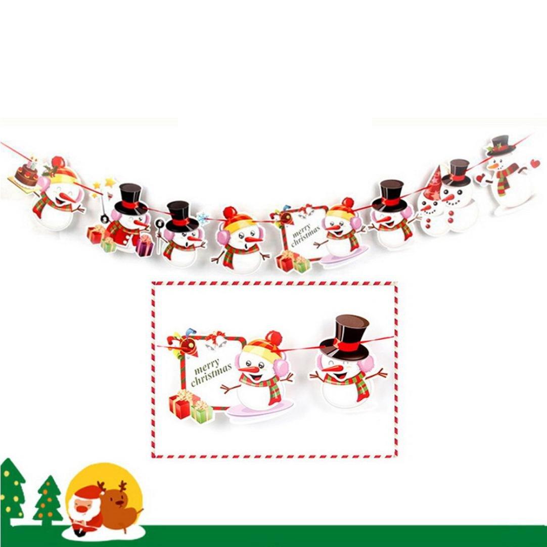 Merry Christmas Banner Decoration Hanging Flag Santa Snowman Elk ...