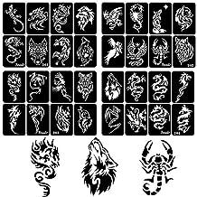 xmasir 32 Sheet DIY Airbrush Tattoo Stencils for Men Body Painting Dragon Wolf Glitter Temporary Tattoo Sticker
