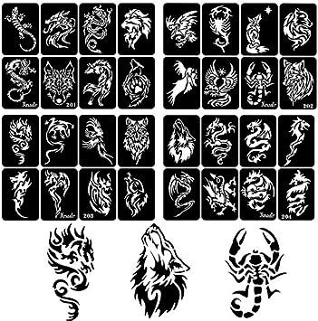 Plantillas de tatuaje para aerógrafo de 30 hojas para hombres ...
