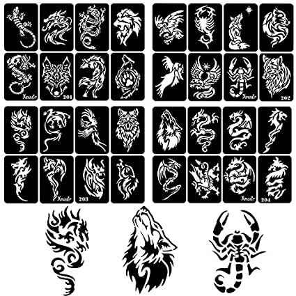 7ed7445b3 Amazon.com: 30 Sheet DIY Airbrush Tattoo Stencils for Men, Dragon Skull  Wolf Eagle Glitter Templates for Body Painting: Office Products