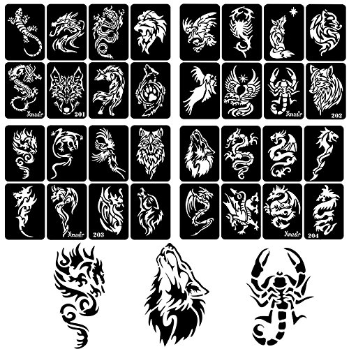 30 Sheet DIY Airbrush Tattoo Stencils For Men, Dragon Skull Wolf Eagle Glitter Templates For Body Painting by xmasir