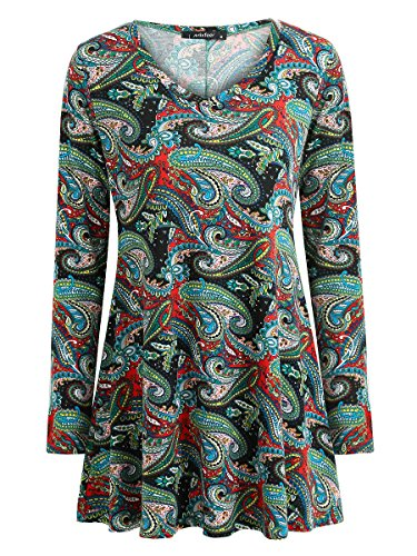 Mixfeer Women's Long Sleeve V Neck Flared Comfy Loose Fit Floral Print Tunic Top (XL, Blue)