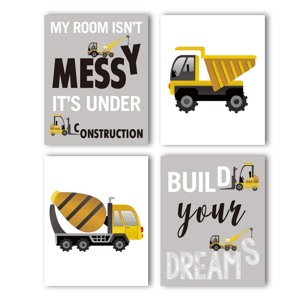 "HPNIUB Construction Trucks Picture Cartoon Construction Transport Vehicle Art Print Set of 4 (10""X8""Canvas Funny&Inspirational Words Poster Painting for Nursery or Kids Boy Room Home Decor,No Frame"