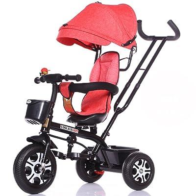 Multi-usage 4-en-1 Enfant Vélo Tricycle Vélo Vélo Fille Fille Pour 6 Mois -6 Ans Bébé Trolley Trois Roues Avec Auvent et Parent Poignée | Amortissement | Sièges rotatifs | Plia